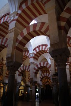 Arches at the Great Mosque of Cordoba in Andalusia, Spain