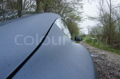 Curve lines in a Tesla S85D in the forest | Stock Photo | Colourbox on Colourbox