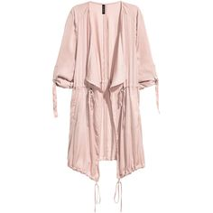 Satin Parka $34.99 ($35) ❤ liked on Polyvore featuring outerwear, coats, pink parka coat, pink coat, lapel coat, satin coat and long sleeve coat