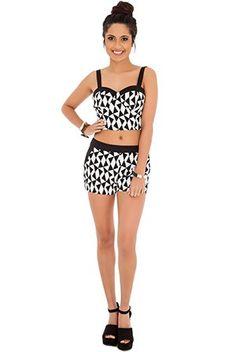 Tatu Monochrome Bralet Crop top and Matching Shorts 2 piece set