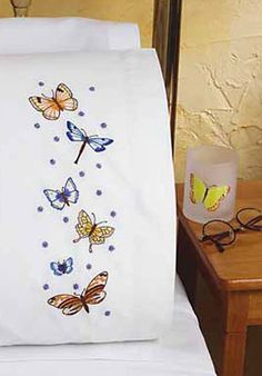 Image detail for -Beautiful Butterflies Pillowcase Pair - Embroidery Kit