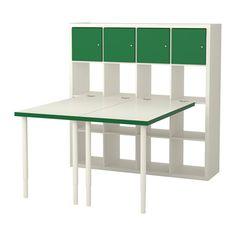 IKEA - KALLAX, Combinaison bureau, , Ce meuble peut servir de séparateur de pièce car il présente la même finition sur tous les côtés.Trous pré-percés pour le montage facile des pieds.La table peut être déplacée facilement grâce aux pieds en plastique qui ne rayent pas le sol.Vous pouvez utiliser l'accessoire de fixation pour fixer, à une étagère KALLAX, n'importe quel plateau de table de notre assortiment, hormis ceux en verre.La pièce de raccordement ne risque pas de rayer le…