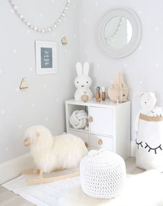 gray, white, and wood! Baby Room Grey, Room Baby, Ikea Baby Nursery, Ikea Baby Room, Baby Room Sheep, Baby Lamb Nursery, Sheep Nursery, Nursery Mirror, Bunny Nursery
