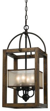 Cal Lighting FX-3536/4 4 Ltg Mission Wood/Metal Chandelier With Organza Shade - contemporary - Chandeliers - Lighting Front