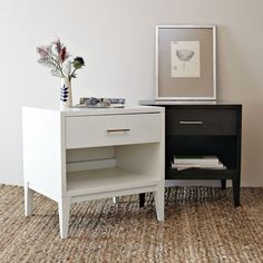 Straight and narrow. Dressed up with gracefully tapered legs and modern metal handles, the Narrow-Leg End Table works equally well as a side table or nightstand. The roomy drawer and open shelf meet all your organizational needs.
