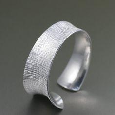 Tapered Linen Aluminum Bangle Bracelet  Silver Toned by johnsbrana