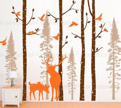 "Our Original Birch Tree and Forest Tree Wall Decal Collection is a perfect addition for a woodland themed nursery or childrens room. This forest scene comes with 4 birch trees, 4 fir trees and 2 deer, including a large buck.  { APPROX. SIZES }  101"" or 108 tall Birch Tree Trunks The trees can be trimmed for walls that are shorter during application. For taller trees, please message us for pricing.  Fir Trees are 90, 83, 70 & 56 tall  Deer are 47 & 20 tall  Whats Included: ~ Test Decal ~ 4…"