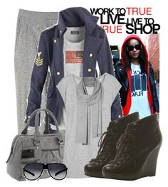 """""""Chill man!"""" by girley ❤ liked on Polyvore featuring Polo Ralph Lauren, Helmut Lang, L.A.M.B., T By Alexander Wang, AllSaints, adidas, wedge boots, aviator sunglasses, topshop.com and scarf"""