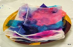 Dyeing Silk Scarves with Spectra Art Tissue - heat set with blow dryer or iron