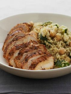 Quinoa With Zucchini and Spiced Skillet Chicken. A healthy recipe that is a balanced meal.