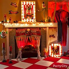 Welcome everyone to a night of terror with a DIY marquee for your mantel! Click to visit all our creepy carn-evil ideas to create the scariest show on earth!