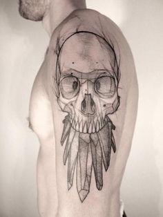 Schulter Totenkopf Dotwork Tattoo von Jan Mràz
