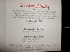 Great way to memorialize lost loved ones in wedding program. For Duran's dad and my grandfather