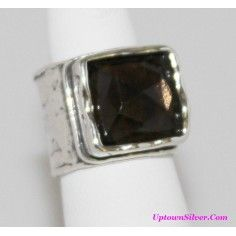Silpada Artisan Jewelry Size 5 Square Smoky Quartz Hammered 925 Sterling Silver Wide Band Ring Retired