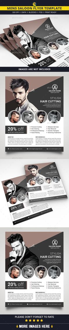 Mens Saloon Flyer by DesignerEshad Business Card Design Inspiration, Business Design, Brochure Design, Branding Design, Flyer Layout, Business Flyer Templates, Corporate Flyer, Print Templates, Picture Design