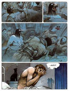 Enki Bilal - The Nikopol Trilogy Cool Comic Book Pages Comic Book Layout, Comic Book Pages, Comic Books Art, Illustrations, Illustration Art, Bilal Enki, Georges Wolinski, Serpieri, Science Fiction