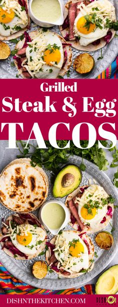 Egg Tacos with Grilled Steak are the ultimate weekend luxury breakfast, lunch, or dinner. This spin on steak and eggs pairs grilled steak with a perfectly fried egg in a taco. Served with a delicious Aji Verde. #eggtacos #breakfast #steakandeggs #huevosrancheros Brunch Recipes, Breakfast Recipes, Dinner Recipes, Easy Recipes, Ways To Cook Steak, Kinds Of Steak, Verde Sauce, Breakfast Enchiladas, Tacos