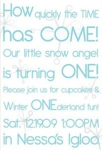 Winter ONEderland invitation wording