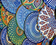 The Plate Market, Marrakech, Morocco. I wanted to bring home one of each! Unfortunately, the tagine I did bring home arrived with broken top! Moroccan Art, Moroccan Design, Moroccan Style, Marrakesh, Marrakech Morocco, Moroccan Pattern, Art Mural, Art Décor, Moorish