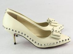 Christian Louboutin Lucifer Bow 45mm Pumps Cream