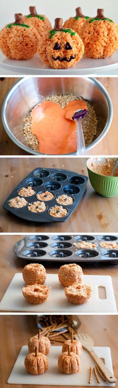 Pumpkin-Shaped Rice Krispies Treats | Click Pic for 22 DIY Halloween Party Ideas for Kids | Easy Halloween Party Food Ideas for Kids to Make