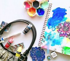 """Another great reason to use DecoArt products? They meet airplane ✈️ carry on rules! Thanks for the inspiration to travel with our paints @marticesmithart! #decoartprojects #decoartmedia #carryon #travel . . . marticesmithart: I ❤️ being able to pursue my dreams from my bag. Take a 👀inside...It's all about being prepared so I never leave the house without my sketchbook. Throw in a couple of paints (complementary ones so I can mix 'em to create more colors) + my favorite stamps...ahhh yeah!"""""""