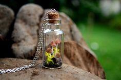 Mushrooms terrarium necklace unique jewelry by VeinsOfNature