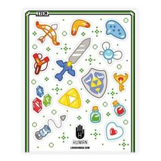 Link's inventory stickers! Show off your love for that kick-ass adventure, video game franchise with these adorable Legend of Zelda inspired, Link's inventory, gamer, nerdy, geek stickers! Now get out there and protect Hyrule and save Princess Zelda!