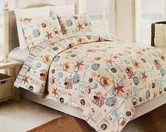 3 Piece Beach Tropical Ocean Sea Life Beach Crab Starfish Quilt Bedspread Set