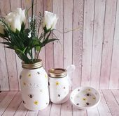 Your place to buy and sell all things handmade Mason Jar Planter, Mason Jar Vases, Painted Mason Jars, Honey Bee Images, Decoupage Jars, Kilner Jars, White Chalk Paint, Handmade Tags, Table Centers