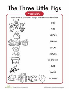 Worksheets: The Three Little Pigs Words