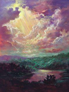 Luz Del Cielo Light from Heaven by Randy Burns Heaven Painting, Heaven Art, Sky Painting, Acrylic Painting Canvas, Canvas Art, Landscape Art, Landscape Paintings, Fantasy Art Landscapes, Pastel Art