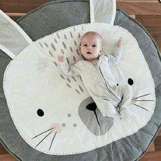 Cartoon Animals Bear Rabbit Face Baby Cotton Play Mats Children Crawling Rug Carpet Kids Blanket Pad Bed Room Decor Nordic Style