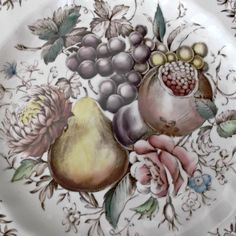 Vintage Johnson Brothers Fluted Windsor Fruit Plate Polychrome Transfer ware at Saltymaggie's Treasures