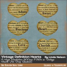free dictionary vintage clip art images- Text Clips: Adore, Sweet, Precious, Heart, Love, Cherish