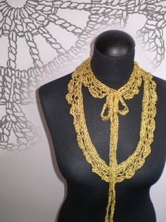 crocheted silk gold necklace by FedRaDD on Etsy, $30.00