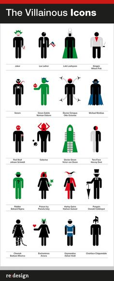 Evil gone simple.     Simplified Super Heroes and Villains Icons - DesignTAXI.com