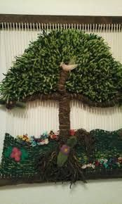Resultado de imagen para telares decorativos de arboles Hanukkah, Christmas Wreaths, Holiday Decor, Home Decor, Google, Weaving Looms, Needlepoint, Felting, Decoration Home