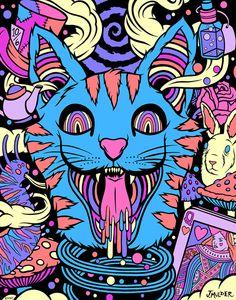 Trippy в 2019 г. Kunst Inspo, Art Inspo, Trippy Drawings, Art Drawings, Trippy Cat, Psychedelic Art, Bd Pop Art, Acid Art, Trippy Painting