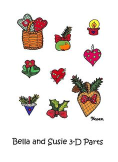 Karen`s Paper Dolls: Bella and Susie Christmas Fairies 3-D Postcards to Print in Colours. Bella og Susie Julealfer 3-D postkort til at printe i farver.