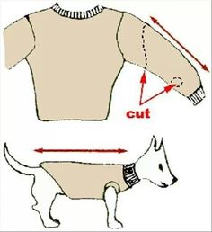 Diy sweater- good idea for mey weenie dog!