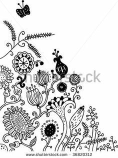 Doodle flower corner - stock vector