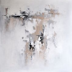 """Original Abstract Painting, Urban Art Grey Beige White 28x28"""" UNSTRETCHED Rolled in a tube"""