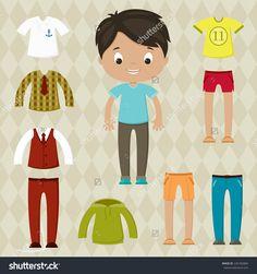 Dress up game. Boy paper doll. Clothes set.