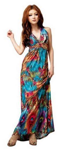 Boho Halter V-neck Long Maxi Evening Party Beach Dress (236x526)