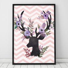 Poster ou Tela MDF - Flower Deer