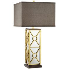 Pacific Coast Romana Mirrored Table Lamp (985 DKK) ❤ liked on Polyvore featuring home, lighting, table lamps, gold, coast lamp, geometric lighting, oversized lamps, coast lights and gold lighting