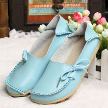 New Women Real Leather Shoes Moccasins Mother Loafers Soft Leisure Flats Female Driving Casual Footwear Size 35-42 In 16 Colors