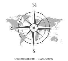 Vector illustration of world map with wind rose, navigation compass. Compass Tattoo, Tattoo Ideas, Tattoo Designs, Wind Rose, Shower Doors, Tattoo Inspiration, Ceiling Fan, Map, Logo