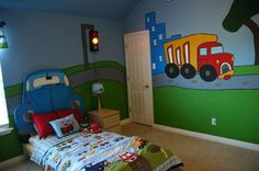 I want this room for MJ. I want the toddler comforter, sheet set, the two stuffed cars on the bed, the lamp and the functional traffic light.